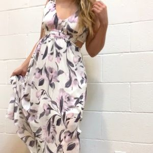 SIENNA SKY: Floral cut out maxi dress